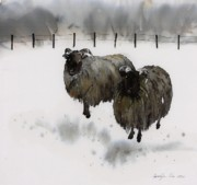 Black  Tapestries - Textiles Prints - Ricks Farm Print by Carolyn Doe