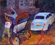 Ambassador Painting Prints - Rickshaw Accident Print by Art Nomad Sandra  Hansen