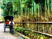 Bamboo Fence Prints - Rickshaw in a Bamboo Forest Print by Cathleen Cawood
