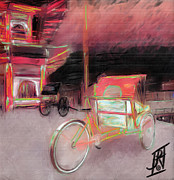 Hall Mixed Media Posters - Rickshaws Idling Poster by Rosy Hall