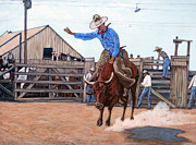 Bull Riding Paintings - Ride em Cowboy by Tom Roderick