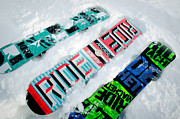 Snowboard Framed Prints - RIDE IN POWDER snowboard graphics in the snow Framed Print by Andy Smy