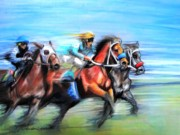 Race Pastels Posters - Ride Like the Wind Poster by Patricia L Davidson