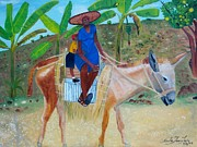 Tropical Oriole Posters - Ride To School On Donkey Back Poster by Nicole Jean-Louis