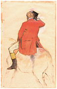 Horseman Drawings - Rider in a Red Coat by Edgar Degas