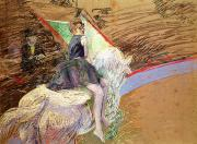 Featured Pastels Metal Prints - Rider on a White Horse Metal Print by Henri de Toulouse Lautrec