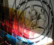 Horse Glass Art - Rider with the Hawk. Glass Painting - out-take view with the preparatory drawing II. 2010 by Yuri Yudaev