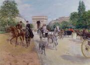 1900 Architecture Paintings - Riders and Carriages on the Avenue du Bois by Georges Stein