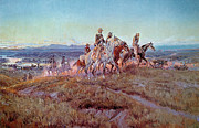 Indians Painting Framed Prints - Riders of the Open Range Framed Print by Charles Marion Russell