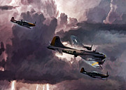 P-51 Art - Riders On The Storm by Peter Chilelli