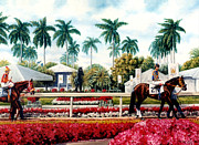 Equine Paintings - Riders up at Gulfstream by Thomas Allen Pauly