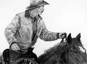 Cowboy Drawing Originals - Riding Flank by Geri Dunn