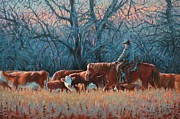 Cottonwood Paintings - Riding Herd by Jim Clements