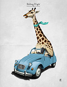 Giraffe Posters - Riding High Poster by Rob Snow
