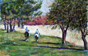 Riding Pastels - Riding in Valley Forge by Joyce A Guariglia