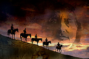 Native Americans Paintings - Riding Into Eternity by Paul Sachtleben