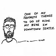 Seattle Drawings Acrylic Prints - Riding My Bike Comic Acrylic Print by Karl Addison