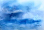 Sailboats Art - Riding Out The Storm by Arline Wagner
