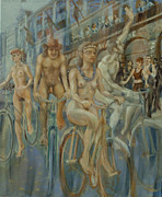 Cyclists Paintings - Riding passed Le Meridien in June by Peregrine Roskilly
