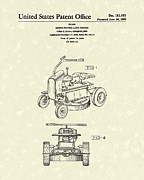 Antique Drawings - Riding Power Lawn Mower Patent Art  by Prior Art Design