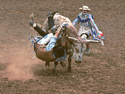 Bull Riding Prints - Riding Side Saddle Print by Jerry McElroy