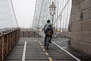 Bicycling Photos - Riding the bridge by David Bearden