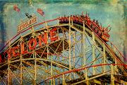 Roller Coaster Metal Prints - Riding the Cyclone Metal Print by Chris Lord