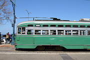 Buses Posters - Riding The Green Trolley Train In San Francisco . 7D14253 Poster by Wingsdomain Art and Photography