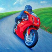 Sports Paintings - Riding the Highlands - Ducati 999 by Brian  Commerford