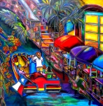 San Antonio Paintings - Riding the River by Patti Schermerhorn