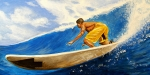 Surfing Paintings - Riding the Wave by Al  Molina