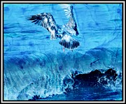 Sea Birds Prints - Riding The Wave Blue Gull Print by Debra  Miller