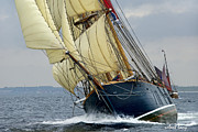Wooden Ship Metal Prints - Riding the Wind Metal Print by Robert Lacy