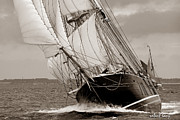 Tall Ships Metal Prints - Riding the Wind -sepia Metal Print by Robert Lacy