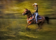 Horse Racing Art Prints - Riding Thru The Meadow Print by Susan Candelario