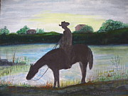 Light Horse Art Painting Originals - Riding Watch by Michael Parsons
