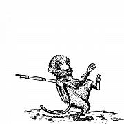 Ink Drawings - Rifle Monkey by Karl Addison