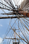 Sails Prints - Rigging Aboard the HMS Bounty Print by Michelle Wiarda