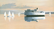 Sailing Ship Paintings - Right of way  The Queen of Burnaby by Gary Giacomelli