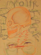Lightning Drawings Prints - Right Off Your Head - Orange Print by Meg Goff