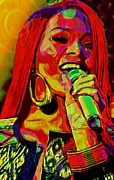 Yellow Line Mixed Media Prints - Rihanna 2 Print by Byron Fli Walker