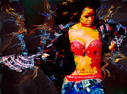Rihanna Acrylic Prints - Rihanna Abstract by GBS Acrylic Print by Anibal Diaz