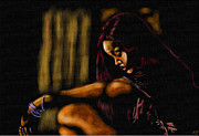 Rihanna Mixed Media Framed Prints - Rihanna Framed Print by Anthony Crudup