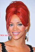 Pink Lipstick Prints - Rihanna At A Public Appearance For Dkms Print by Everett