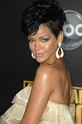 Hoop Earrings Prints - Rihanna At Arrivals For 2008 American Print by Everett