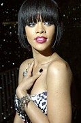 Pink Lipstick Photo Framed Prints - Rihanna At Arrivals For Jay-z And Giant Framed Print by Everett