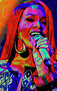 Smiling Mixed Media Acrylic Prints - Rihanna  Acrylic Print by Byron Fli Walker