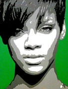 Monotone Paintings - Rihanna by Dan Carman
