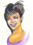 Rihanna Paintings - Rihanna by Emmanuel Baliyanga