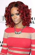 Curled Hair Art - Rihanna In Attendance For Rihanna New by Everett